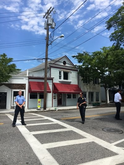 Southampton Village Police direct traffic after power outtage on the Fourth of July. GREG WEHNER