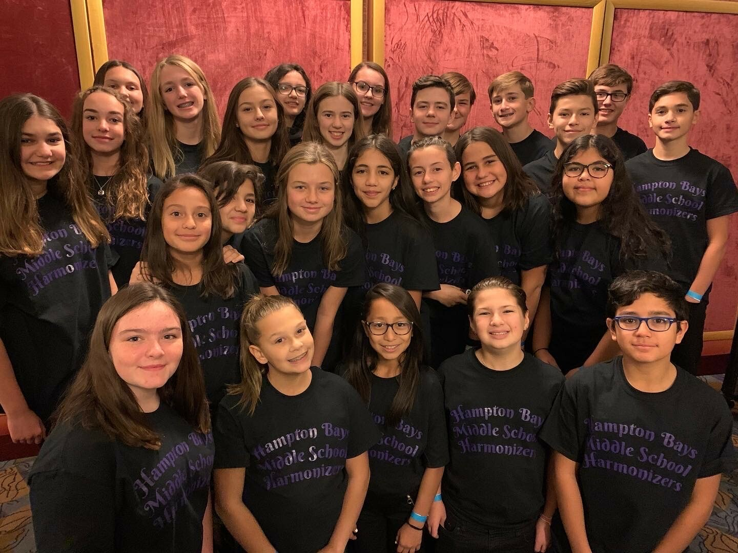 Hampton Bays Middle School's Harmonizers performedg at Radio City Music Hall on November 23 to a sold-out audience of 6,000. The 26- member vocal ensemble sang a cappella renditions of holiday songs before the curtain opened on the Christmas Spectacular featuring the Rockettes. Nickolette Kacharaba conducted the group and Carolanne Mazur accompanied them with body percussion.