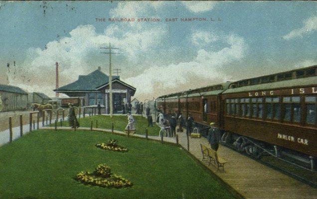 A historical photo of the East Hampton Village train station. COURTESY EAST HAMPTON LIBRARY