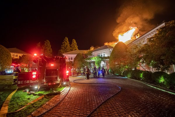 A fire brook out Friday night at the Creeks estate in East Hampton. Michael Heller