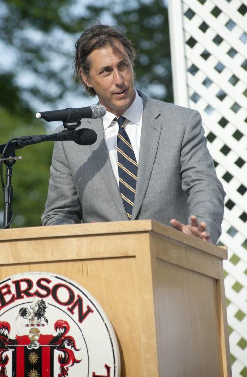 Screenwriter Bill Collage speaking at the 2013 Pierson High School graduation.