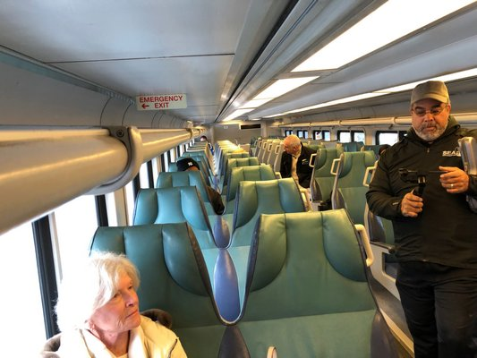 Ridership on the South Fork Commuter Connection on Monday morning was low due to a snow storm and delayed openings at Town Hall and local school districts. JOE SHAW