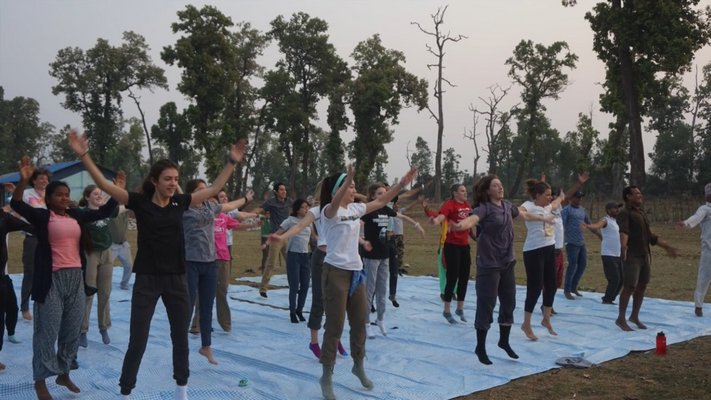 The students practiced yoga each morning with their host families.  COURTESY WILLIAM BARBOUR