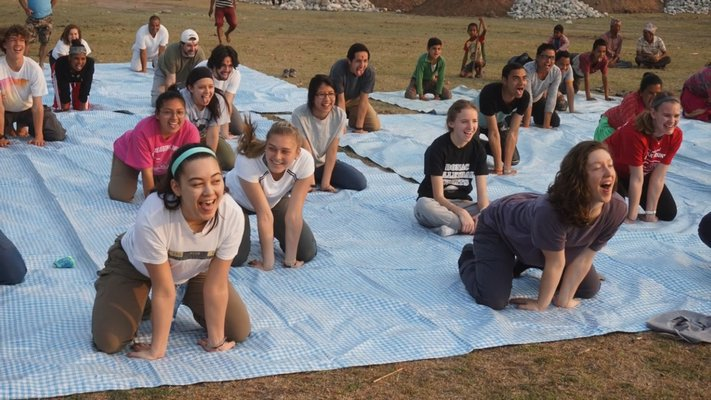 The students and villagers practiced yoga each morning. COURTESY WILLIAM BARBOUR