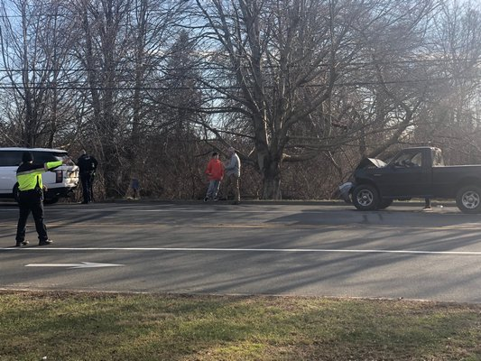 A two-car collision took place on Montauk Highway near Spring Close Highway in East Hampton on Thursday afternoon. MICHAEL WRIGHT