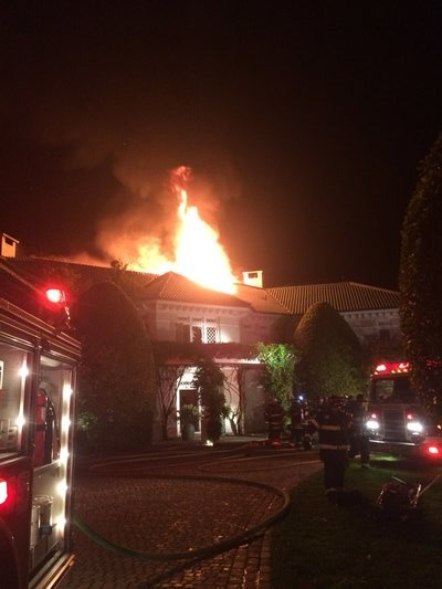 The fire was brought under control about midnight. COURTESY EAST HAMPTON FIRE DEPARTMENT
