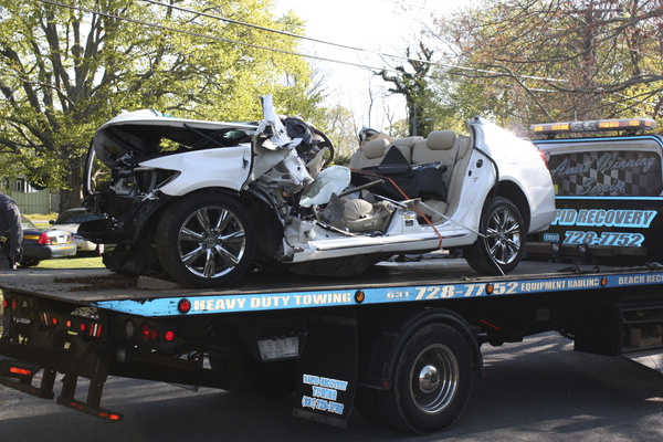 A police photo of the vehicle involved in the crash.