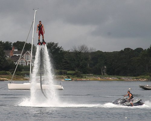 A flyboarding demostration.