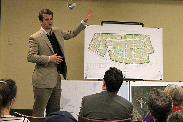 Francis P. Jenkins III of Putnam Bridge developers presented their concept for a senior living community to the Amagansett Citizens Advisory Committee. KRYIL BROMLEY