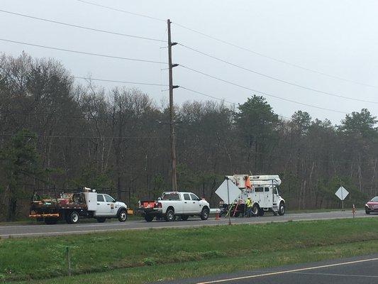 PSEG contractors installed nealry 150 new utility poles last month along County Road 51 between Riverhead and Eastport