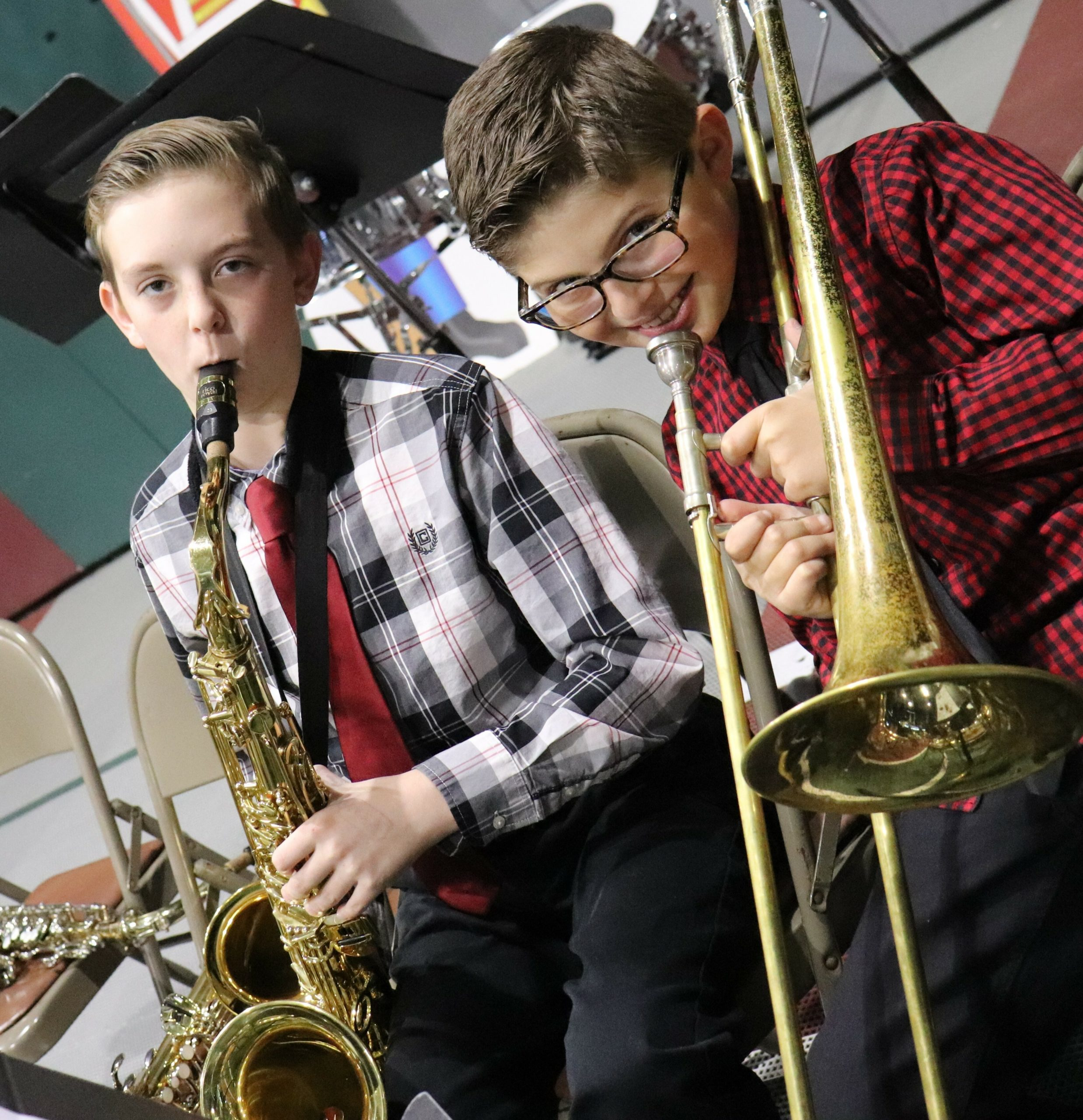 Raynor Country Day School hosted its annual Winter Concert for students in fourth- through sixth-grade. During the event, the senior band, jazz band, senior chorus, the ukulele ensemble and piano soloists performed. Parker Roppelt and George Nikolopoulos warming up for the performance.