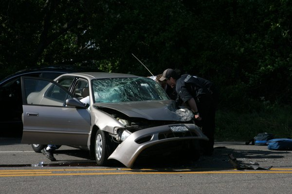 A three car crash on County Road 39 injured at least three people and caused long traffic backups in both directions during rushour on Friday afternoon. M. Wright
