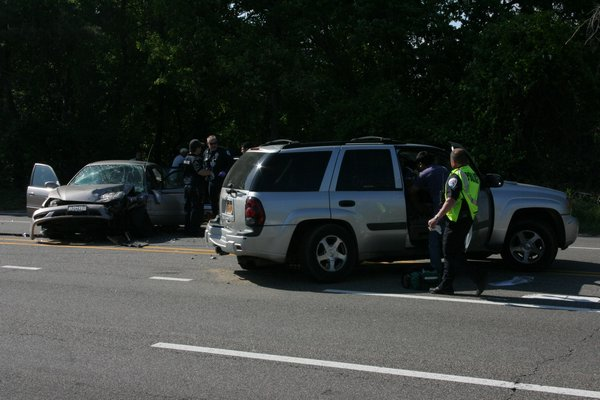 A three car crash on County Road 39 injured at