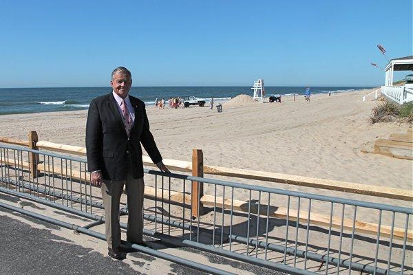East Hampton Village Mayor Paul F. Rickenbach Jr. at Main Beach on Monday. BY KYRIL BROMLEY
