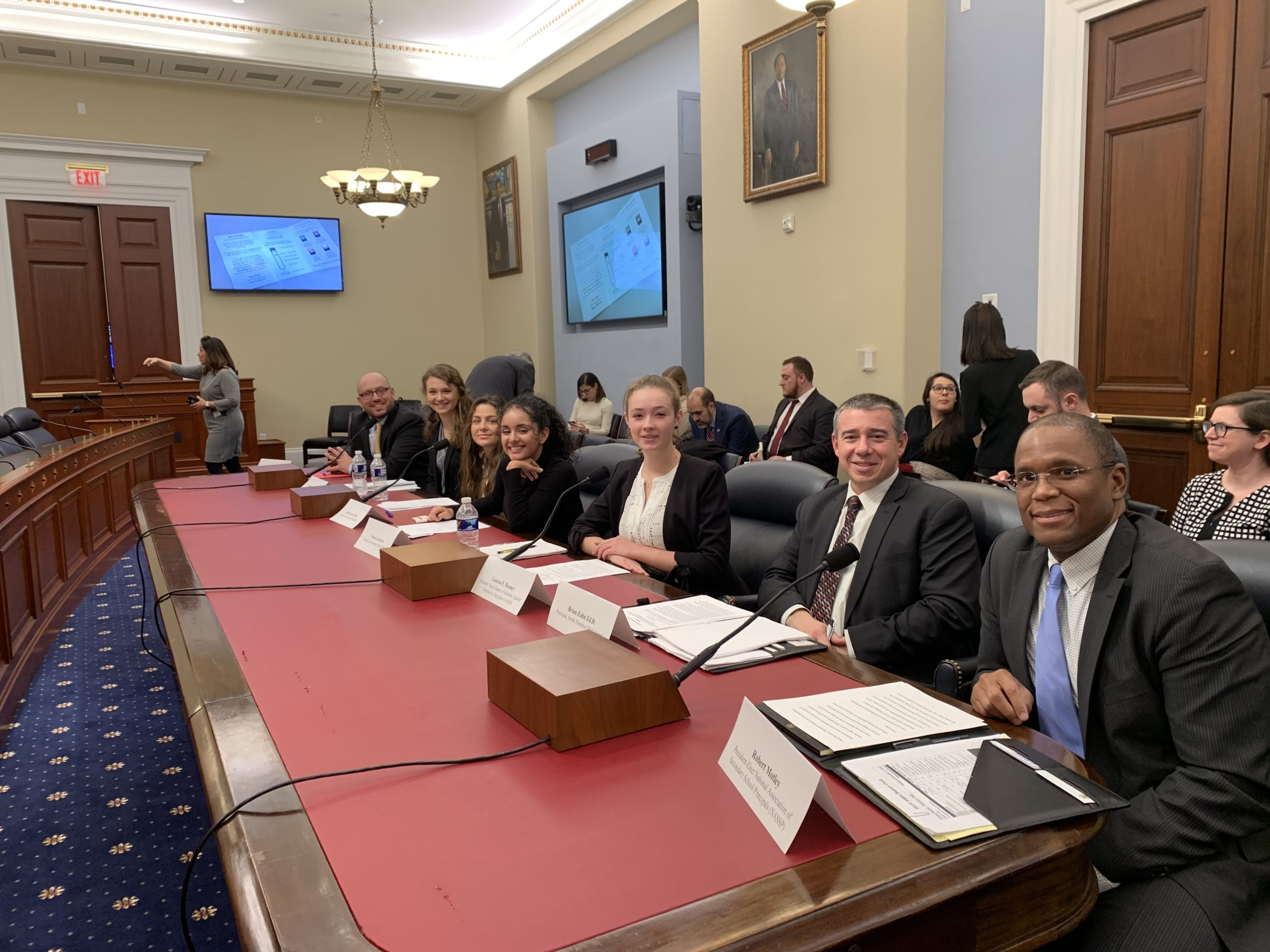 Local students and administrators in Washington, D.C., at the Congressional forum on youth vaping.