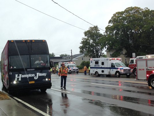 A Hampton Jitney bus and an SUV were involved in an accident on County Road 39 in Southampton on Tuesday afternoon. BY DANA SHAW