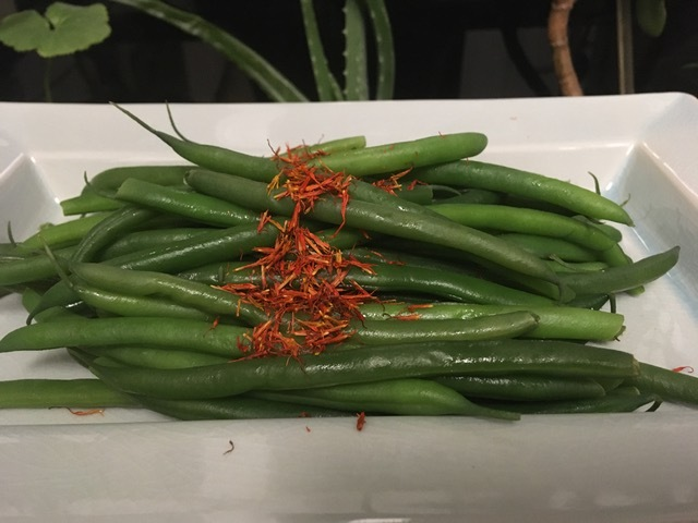 Haricot Vert with Safflower Blossoms