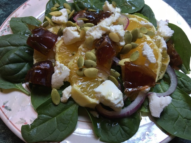 Baby Spinach, Orange, Date and Chévre Salad.