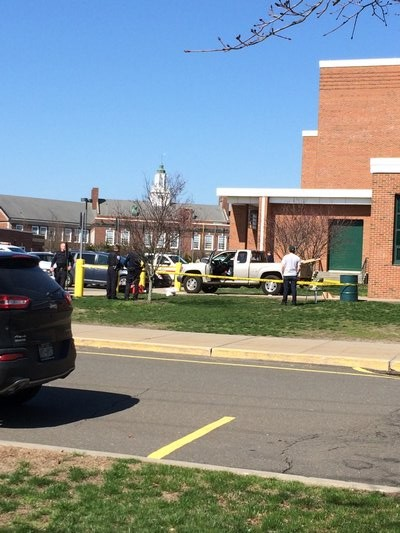 A pickup truck struck a man outside Westhampton Beach High School on Saturday morning. IRINA RICHARDSON