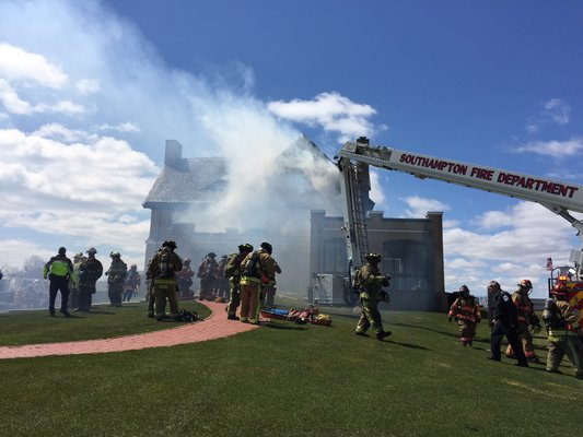 There was an active fire at the National clubhouse shortly before noon on Wednesday.