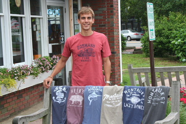 Peter Moore with samples of his Local Knit Montauk tees outside the Bake Shoppe.