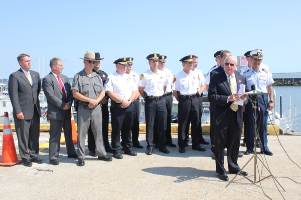Suffolk County District Attorney Thomas J. Spota thanks local law enforcement agencies for their efforts in battling drinking and driving. CAROL MORAN