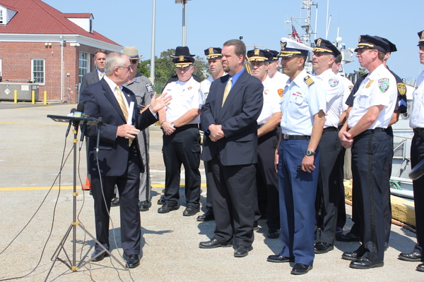 Suffolk County District Attorney Thomas J. Spota thanks local law enforcement agencies and county officials for their efforts in curbing drinking and driving on the East End. CAROL MORAN