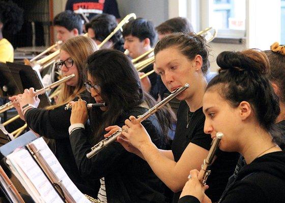 The East Hampton High School junior and senior band.   KYRIL BROMLEY