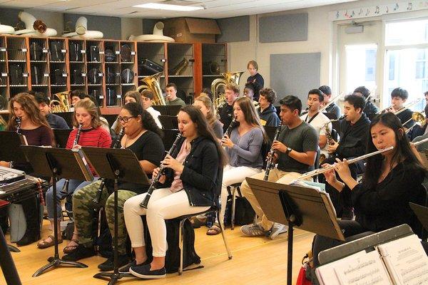 East Hampton High School's junior and senior band.   KYRIL BROMLEY