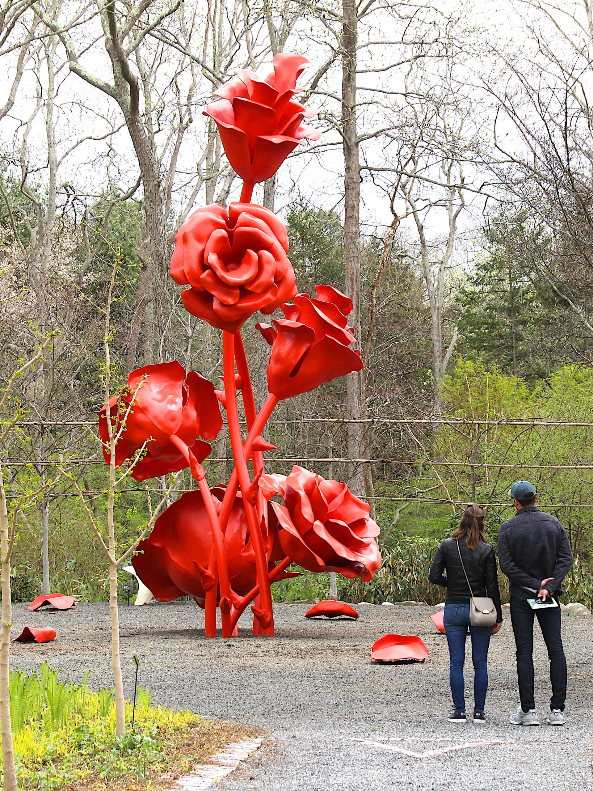 "Bloomin' Big May 1 -- A couple checksout Will Ryman's ""rose"" at opening day at LongHouse Reserve."