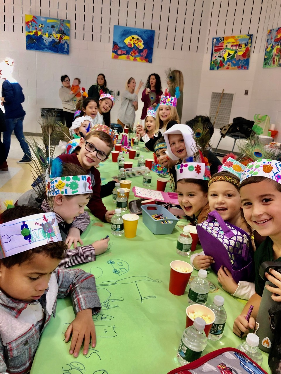 East Quogue Elementary School first-graders gathered for a Thanksgiving feast before their break.