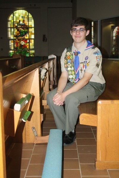Gary Tetrault earned Eagle Scout distinction after completing a restoration project at St. Rosalie's Church in Hampton Bays. CAILIN RILEY