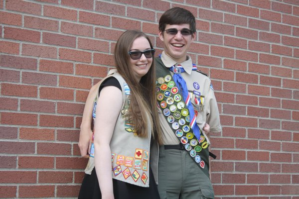 Twin siblings Julia and Gary Tetrault earned the highest honors in scouting this year. Julia completed her Gold Award for Girl Scouts