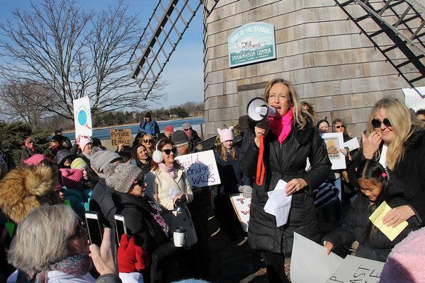Hundreds of marchers turned out for the Sag Harbor Women's March Saturday