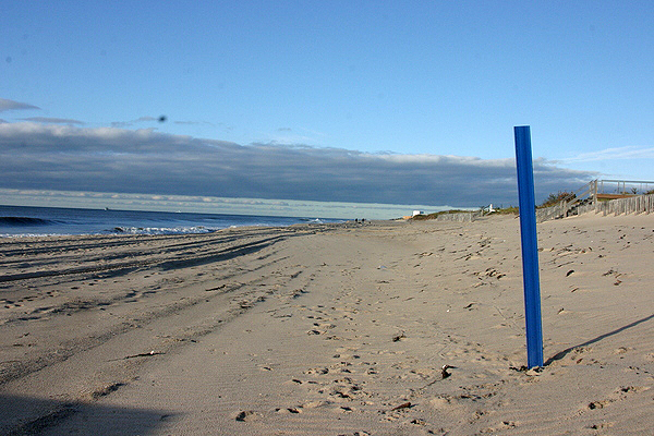 Beach markers are being placed along the shoreline to help identify the locations of swimmers in trouble.