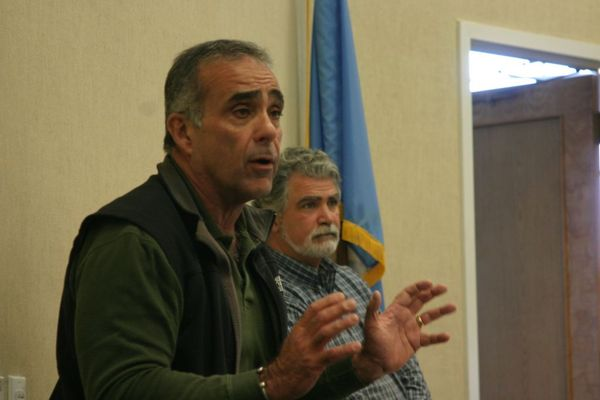 West Hampton Dunes Village Mayor Gary Vegliante told Sagaponack residents that areas that had been the focus of beach renourishement projects in recent years fared better in the storm than areas that hadn't.  MICHAEL WRIGHT