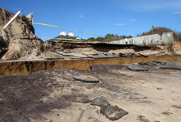The breach in the barrier island at Cupsogue County Park on Dune Road in West Hampton Dunes.  MICHAEL WRIGHT