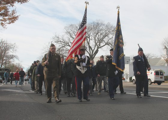 commemorated Veterans Day with a parade in East Hampton Village on Monday. KYRIL BROMLEY PHOTOS