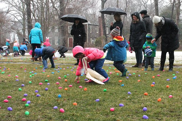 A group of hardy hunters turned out on a damp Saturday morning with sprinkles of snow in the air for the Ladies Village Improvement Society of East Hampton annual Easter Egg Hunt.    KYRIL BROMLEY