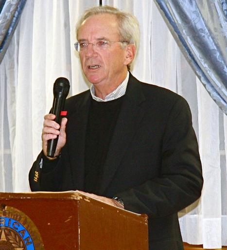 GOP candidate for supervisor Bill Wilkinson speaks at the town gripe session at the Legion Hall Monday night. KYRIL BROMLEY