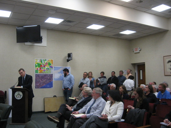 Members of the public lined up to express their thoughts on a proposed new supermarket in Tuckahoe.
