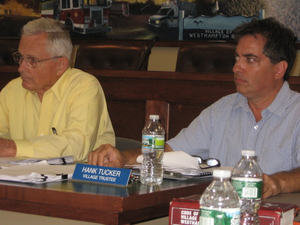 Former Deputy Mayor Mark Raynor blasted Westhampton Village Mayor Conrad Teller (left) for not allowing his son to respond to a fire call while he was working as a lifeguard at Rogers Beach.