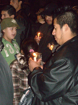 A vigil for Marcelo Lucero in Novemeber of 2008. Lucero