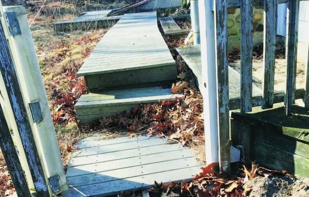 The Peconic Baykeeper's new headquarters requires renovations to its rear deck for handicap accessibility. COURTESY SEAN O'NEILL.