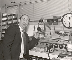 Paul Sidney in the WLNG on-air studio in 1989.