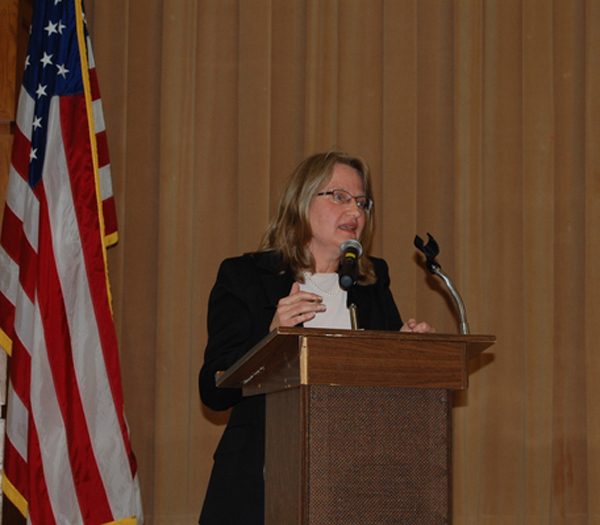 Housing Authority Chairwoman Louise Stalzer during the East Quogue Civic Association meeting on Wednesday.