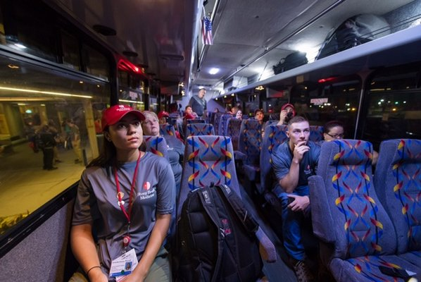 The first set of volunteers get on the bus at Stony Brook University Hospital heading to Kennedy Airport for the flight to Puerto Rico where they will receive initial instructions. COURTESY STONY BROOK UNIVERSITY