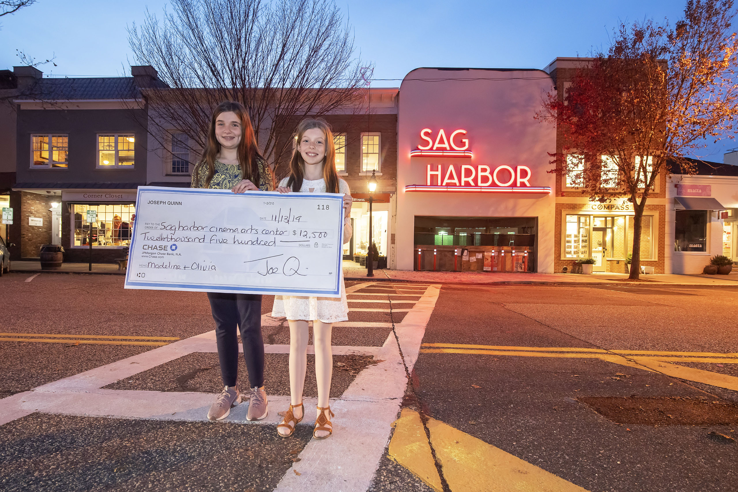 Madeline and Olivia Quinn in front of the Sag Harbor Cinema.Michael Heller