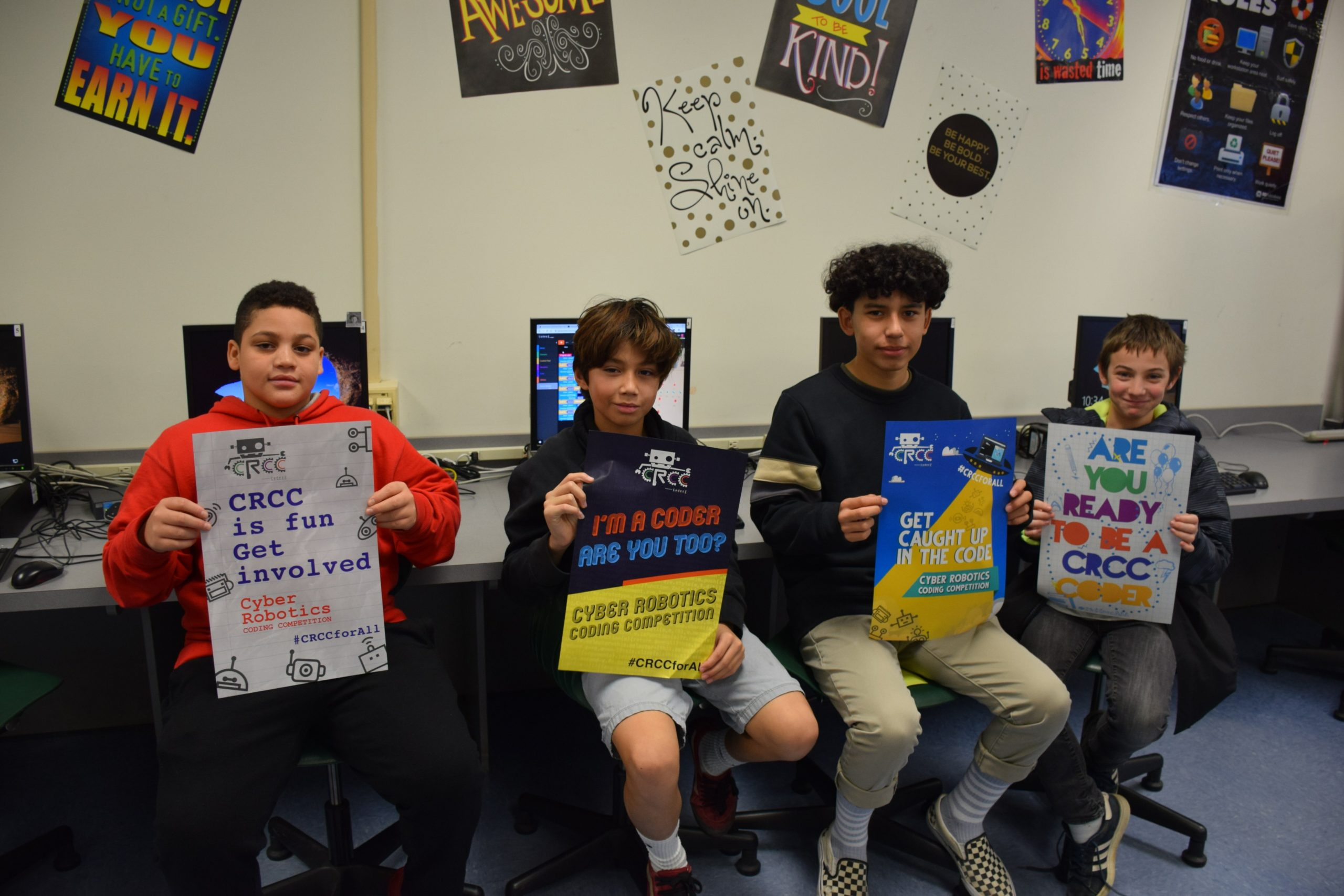 Southampton Intermediate School students, from left, Dyson Smith, Bryan Rosales, Danny Bustamante and Thomas Dunkirk will be representing their school at the CoderZ Cyber Robotics Coding Competition finals on December 13. To earn a spot in the competition, the Southampton seventh and eighth graders, under the direction of teachers Mei-Lynn Guerrero and Michelle Antonucci, competed against 30 schools in several rounds of timed, online coding qualification challenges.