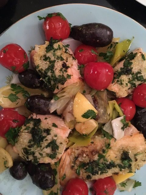 Sheet Pan Roast Salmon with Garlic and Lemon, Purple Peruvian Potatoes, Leeks and Tomatoes